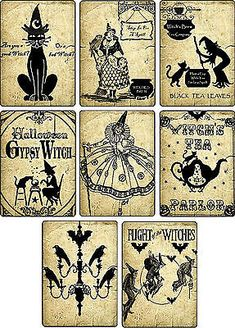 Halloween Witch Potion Label digital collage sheet bat cat