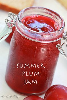 *****Plum Jam - no pectin and lower sugar. This recipe is spot on and so delicious. Some of the best plum jam I've ever made. Plum Jam Recipes, Jelly Recipes, Freezer Jam Recipes, Plum Recipes No Sugar, Sugar Free Plum Jam Recipe, Wild Plum Jelly Recipe, Drink Recipes, How To Make Jam, Jam And Jelly