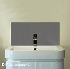Dark Grey Glass Sink Splashback x Grey Toilet, Glass Sink, Downstairs Loo, Grey Glass, Splashback, Backsplash, Dark Grey, Bathtub, Bathroom