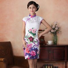 short cheongsams qipao free shipping sexy floral embroidery slim dress hot sale