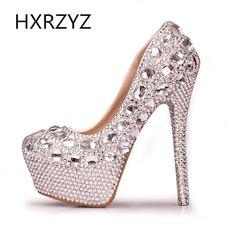 43.30$  Watch now - http://alinhm.worldwells.pw/go.php?t=32212488768 - Handmade Luxury Crystal Rhinestone High Heels Lady Waterproof Platform Wedding Dress Shoes Women Round Toe Bridal Shoes Pumps 43.30$