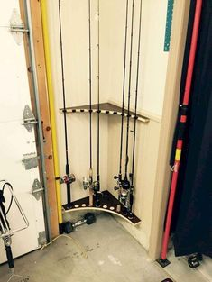 Amy Harmon saved to Garage Pole rack from left over cabinet lumber Garage Organization Tips, Diy Organisation, Diy Garage Storage, Storage Hacks, Storage Ideas, Fishing Pole Storage, Fishing Pole Holder, Fishing Lures, Fishing Rods