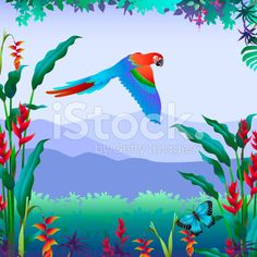 Vector illustration of a flying parrot with a tropical mountain view - royalty-free stock vector art by Kathy Konkle: http://www.konkle.com