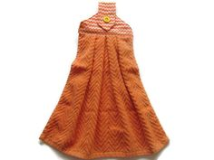 Ready To Ship   Tab Top Towel   Orange Terry Hanging Kitchen Towel   ZigZag  Hanging