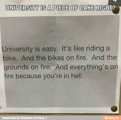 UNIVERSITY IS A PIECE OF CAKE RIGHT?...