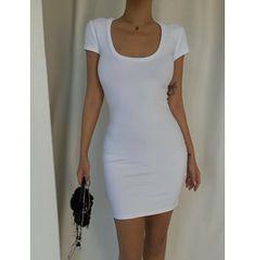 White U Neck Mini Dress Asian, Blush Dresses, Bodycon Dress, Shirt Dress, Purple, Mini, Shirts, Model, Products