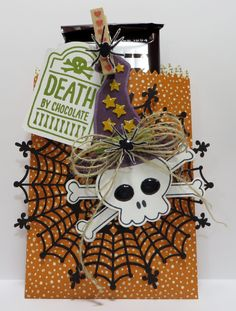 Stampin' Up Mini Treat Bag Thinlits Die Death by Chocolate created by Lynn Gauthier using SU Mini Treat Bag Thinlits Die, SU Howl-o-ween, Sweet Hauntings and Witches' Night Stamp Sets. Go to http://lynnslocker.blogspot.com/2015/09/death-by-chocolate.html to see the details and instructions for this project.