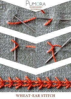 Pumora's lexicon of embroidery stitches: the wheat ear stitch