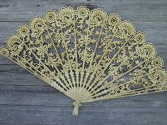 Photo of Vintage Burwood plastic wall plaque or bed headboard, ivory lace fan #1