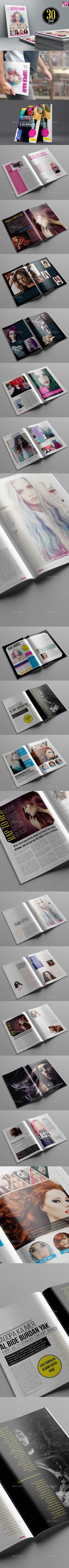 Super Hair Magazine Template #design #journal Download: http://graphicriver.net/item/super-hair-magazine-template/10985558?ref=ksioks