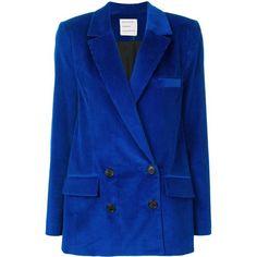 Maison Rabih Kayrouz velvet corduroy blazer ($2,330) ❤ liked on Polyvore featuring outerwear, jackets, blazers, blue, blue double breasted blazer, double-breasted blazers, blue velvet jacket, blue velvet blazer and double breasted jacket