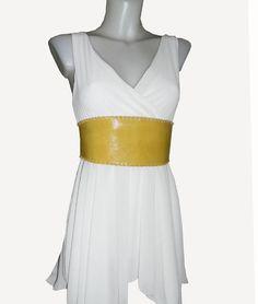 Glossy yellow leather Belt Obi Belt Corset Belt Boho by BohemWorld