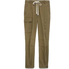 T by Alexander Wang Washed Cotton Twill Cargo Pant ($350) ❤ liked on Polyvore featuring pants, cargo, t by alexander wang pants, army trousers, drawstring trousers, army cargo pants and brown trousers