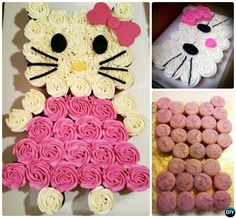DIY Hello Kitty Pull Apart Cupcake Cake-20 Gorgeous Pull Apart Cupcake Cake Designs For Any Party
