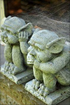 Dedo Gargoyles - see the pointy ears and human feet? #gardengargoyles