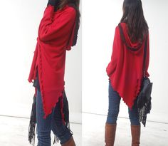 Long long braids - woolen knits poncho (P1203). $55.00, via Etsy.