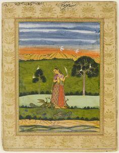 "Detail of Ragamala Miniature (Kakubha (""Sohni"")). Gouache, Hyderabad,  Mid-Late 18th Century,  University of Edinburgh, Or.Ms 114, http://images.is.ed.ac.uk/luna/servlet/detail/UoEsha~4~4~56955~103007"