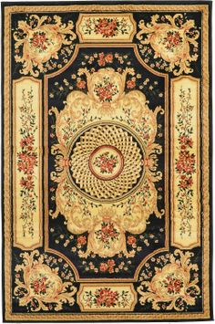 Black 4' 11 x 7' 7 Classic Aubusson Rug | Area Rugs | RugsOnTime