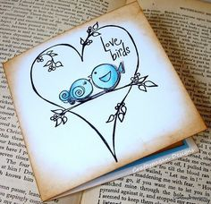 The Love Birds-Luxury 3D Note Card Invitation with Envelope-By Craftypagan Designs. $4.25, via Etsy.