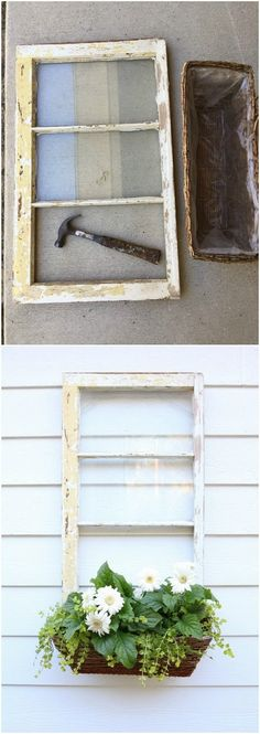 DIY Repurposed Window Box. Turn the old window fram into a lovely window box for your decor this spring season!  Creative DIY projects with Old WIndows.