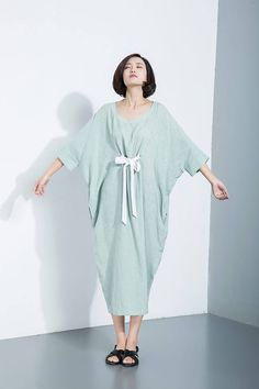 Linen dressloose-fitting dress casual dress women's