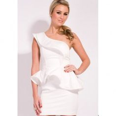 Plus size one shoulder dress white