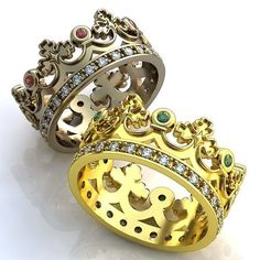 Crown Wedding Bands, Emerald Crown Mens Wedding Band, Ruby Crown Womens Wedding  Ring,