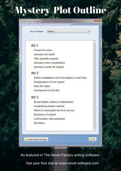 Mystery Plot Outline - as featured in the Novel Factory writers software.