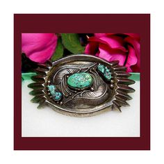 Native American Indian sterling silver turquoise belt buckle. UNSIGNED ($275) ❤ liked on Polyvore featuring accessories and belts