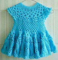 Baby girl dress. Blue hand knitting delicate by HandmadeStoreTS