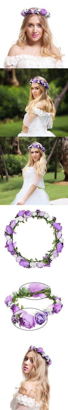 Valdler Jasmine Wreath Flower Crown Garland Halo for Wedding Festivals for Wedding Festivals (Purple)