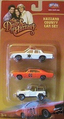 Dukes of Hazzard Hazzard County Car White, Orange, White Jeep Set 3 Pack by Toys R Us. $11.95. For Ages 8 and up. Dukes of Hazzard. Dukes of Hazzard Hazzard County Car Set. The cars in the pack are The General Lee 1969 Dodge Charger, Daisy's Jeep Wrangler and Enos' 1980 Pontiac Bonneville Police Cruiser. Not for children under 8 years old.
