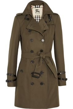 BURBERRY LONDON Mid-length cotton-gabardine trench coat  €1,595.00 https://www.net-a-porter.com/products/391520