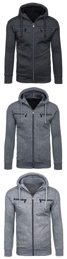 Mens Hoodies Solid Color Zipper Hood Fashion Casual Cotton Blend Sport Hooded To… – Men's style, accessories, mens fashion trends 2020 Fashion Casual, Style Casual, Men Casual, Fashion Coat, Latest Mens Fashion, Mens Fashion Suits, Sport Fashion, Male Fashion, Emo Fashion