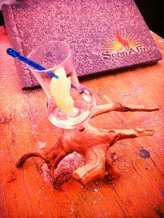 Schnaps, Williams mit Birne, so great in the Austrian Alps - nice presentation glass on vine root