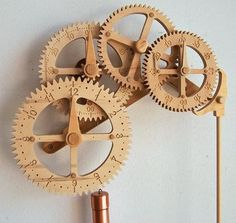 Wooden Gear Clock Plans from Hawaii by Clayton Boyer [ FinestWatches.com ] #clocks