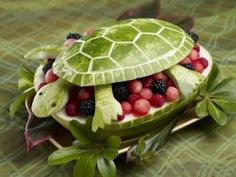 carved watermelon turtle