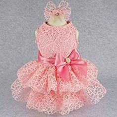 Luxury Pink Lace Dog Tutu Dress Pet Wedding Clothes Shirts + Matching Hair Clip, Pink, XXS