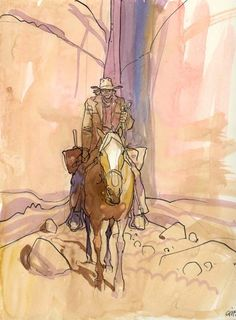 Blueberry by Jean Giraud Jean Giraud, Edouard Hopper, Moebius Art, Comic Book Layout, Western Comics, Bristol Board, Traditional Paintings, Art Graphique, Illustration Sketches