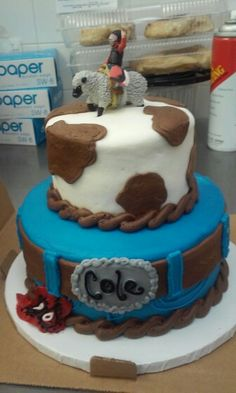 Bull Riding Rodeo on Cake Central LiAm bday cakes Pinterest