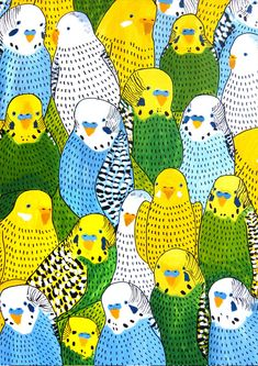 From Swedish graphic designer/illustrator/ceramicist Johanna Burai's Birds series. Excellent colouring and her style is a delight.