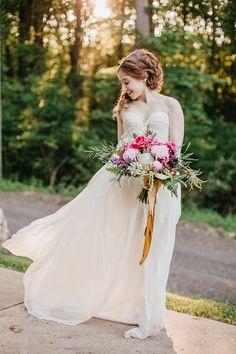 bridal portraits - photo by L.A. Birdie Photography http://ruffledblog.com/colorful-summer-camp-wedding-editorial