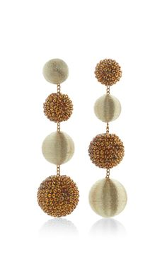 **Rebecca de Ravenel** Le Bon Bons Disco earrings are rendered in a drop style featuring alternating spheres that each resemble that 70's nightlife symbol.