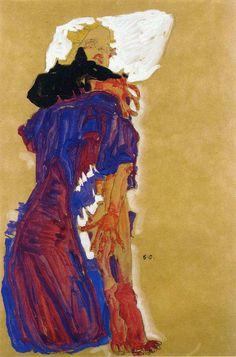 エゴン・シーレ 「枕に横になっている少女 」 1910 | 45.7 x 30 cm