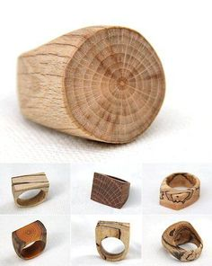 Anéis de Madeira de árvores caídas ou recuperadas. Perfeito! Above, some more natural wood rings from Ontario's The Woodlot, who use fallen trees and reclaimed lumber. Perfect!
