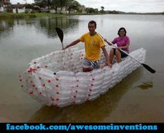 Reduce, reuse, make a boat…recycling done right! Plastic Recycling, Reuse Plastic Bottles, Recycled Bottles, Recycled Art, Recycled Materials, Plastic Milk, Plastic Items, Repurposed, Make A Boat