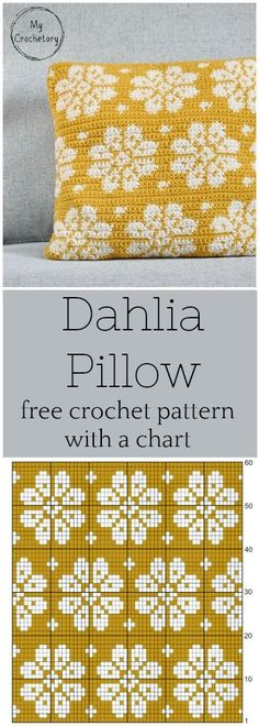 This crochet cushion pattern is simple, elegant and modern. The perfect pillow to personalize your home. Free crochet pattern with a chart and intarsia crochet… Crochet Pillow Patterns Free, Tapestry Crochet Patterns, Crochet Chart, Free Pattern, Modern Crochet Patterns, Pattern Ideas, Crochet Ideas, Knitting Charts, Knitting Patterns