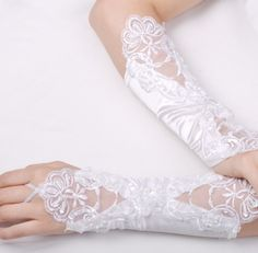 Lace Fingerless Elbow Length Gloves  $34.00