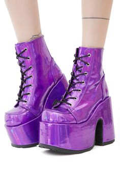 5c846f8b6ea Demonia Rave Royalty Holographic Platform Boots should we curtsy  These  crazy bright holographic boots have