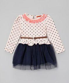 Navy & Light Pink Polka Dot Belted Dress - Girls by Funkyberry on #zulily